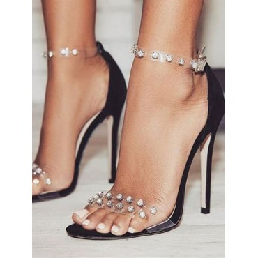 Women's Clear Ankle Strap Heels Stiletto Heel Sandals with Rhinestones on style #06180878964