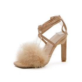Women's Feather Strappy Chunky Heel Sandals in Suede Online Wholesale #113240962148