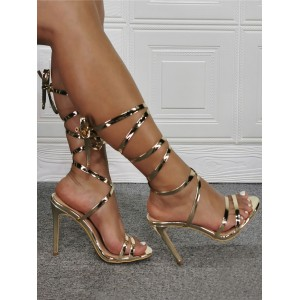 Womens Gold Strappy Heels Lace Up Stiletto Heel Sandals Clearance Sale #113240938260