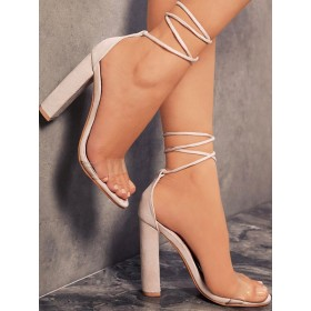Womens Heel Sandals Flesh Color Open Toe Terry Lace Up Summer Strappy Sandals Designer Sale #113240940348