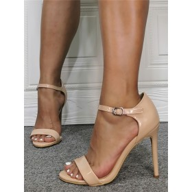 Womens Nude Patent Leather High Heel Sandals Mary Jane Stiletto Heel Sandals Hot Sale #113240938248
