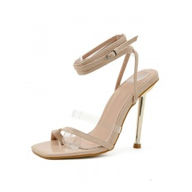 Womens Nude Strappy Heels Stiletto Heels Sandals business casual #113240938340