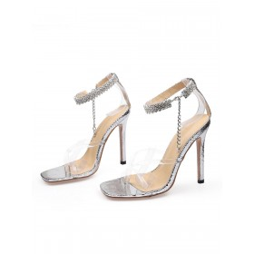 Womens Silver Ankle Strap Heels Stiletto Heel Evening Sandals business casual #113240937518