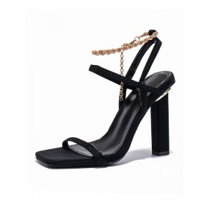 Women's Slingback Chunky Heel sandals with Chains #113240962994