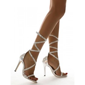 Women's Strappy Lace Up Stiletto Heel Sandals in White Online Wholesale #113240961136