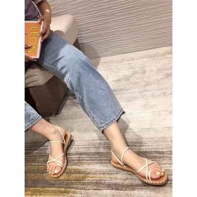 Apricot Flat Sandals For Woman PU Leather Chic Summer Casual Flat Sandals The Best Brand #32740945096