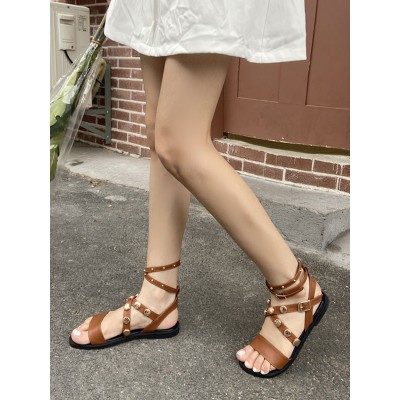 Flat Sandals For Woman Coffee Brown Flat Heel Summer PU Leather Casual Sandals wholesale #113100952692
