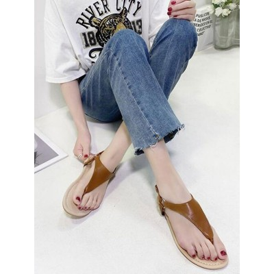 Flat Sandals For Woman Flat Heel PU Leather Chic Flip-flop Sandals the best #32740957430