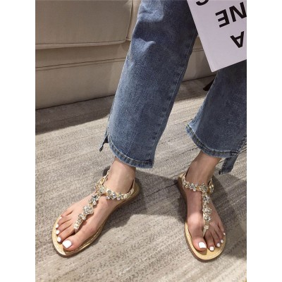 Flat Sandals For Woman PU Leather Chic Apricot Casual Flat Sandals on sale near me #32740945098
