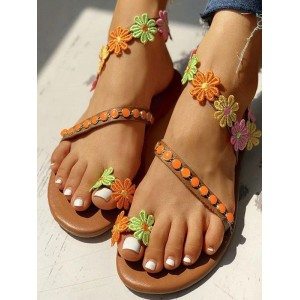 Flat Sandals For Women Flowers Flat PU Leather Chic Coffee Brown Summer Sandals hot topic #32740946076