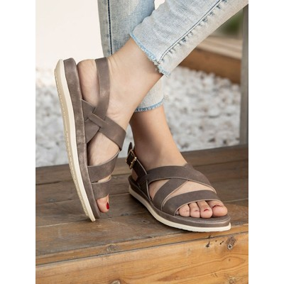 Grey Flat Sandals PU Leather Open Toe Buckle Summer Sandals The Best Brand #15310959038