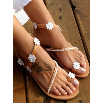 Wedding Shoes Coffee Brown Flat Sandals PU Leather Flowers Open Toe Flat Bridal Shoes #05790946084