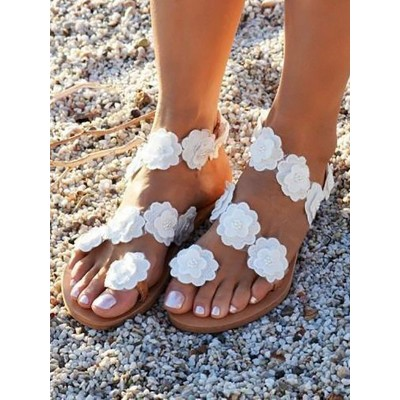 Wedding Shoes PU Leather White Open Toe Flowers PU Leather Flat Sandals shopping #05790946080