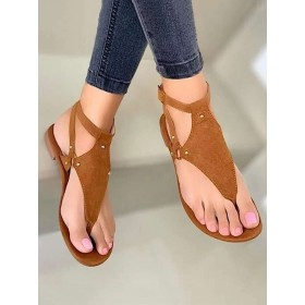 Womans Coffee Brown Flat Sandals Thong Sandals #32740938806