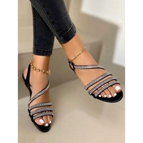 Womens Black Strappy Flat Sandals with Rhinestones shopping #32740938800