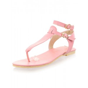 Women's Pink Flat Thong Sandals with Double Buckles Sale #32740565669