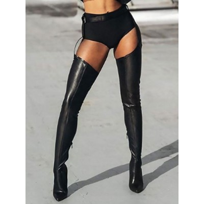Black Sexy Thigh High Heel Boots Pointy Toe Belted Stiletto Heel Boots #12420828474