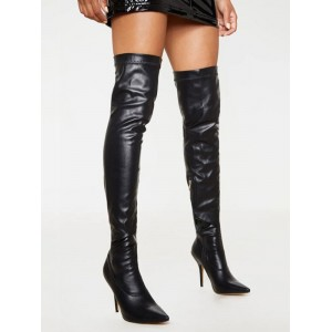 Black Thigh High Boots Pointed Toe Leather High Heel Over The Knee Boots #10720924610