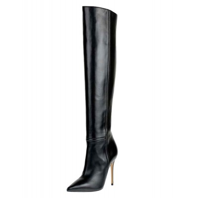 Black Thigh High Boots Womens Leather Pointed Toe Stiletto Heel Over The Knee Boots Trends #10720547417