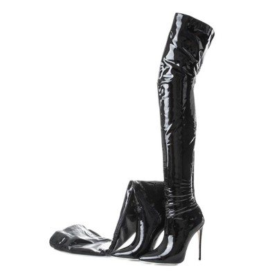 Black Thigh High Boots Womens Patent Leather Pointed Toe Stiletto Heel Over The Knee Boots On Sale #10720749240