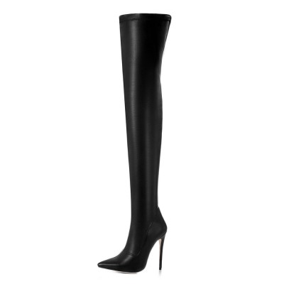 Black Thigh High Boots Womens Pointed Toe Stiletto Heel Over The Knee Boots #10720749042