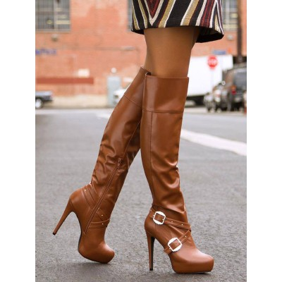 Coffee Brown Over The Knee Boots Womens Buckled Almond Toe Stiletto Heel Boots on sale near me #10720812138