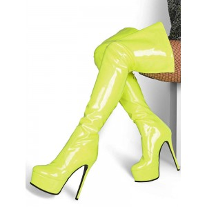 Over The Knee Boots Leather Platform Round Toe Zip Up High Heel Thigh High Boots Deals #10720916640