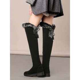 Over The Knee Boots Womens Micro Suede Faux Fur Round Toe Low Chunky Heel Winter Boots #10720741010