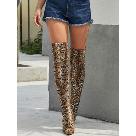 Over The Knee Boots Womens Micro Suede Snake Print Pointed Toe Stiletto Heel Winter Boots #10720871738