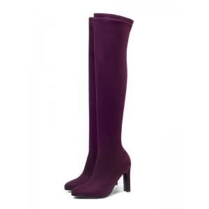 Over The Knee Boots Womens Micro Suede Solid Color Almond Toe Stiletto Heel Winter Boots good quality #10720878764