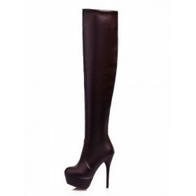 Platform Over The Knee Boots Womens Solid Color Round Toe Stiletto Heel Boots #10720745714