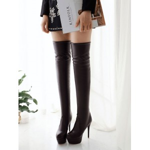Platform Thigh High Boots Womens Almond Toe Stiletto Heel Over The Knee Boots Trends #10720709412