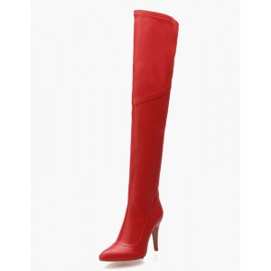 Thigh High Boots Womens Leather Pointed Toe Stiletto Heel Over The Knee Boots online shopping #10720541343