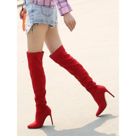 Thigh High Boots Womens Micro Suede Pointed Toe Stiletto Heel Over The Knee Boots Design #10720813762