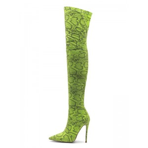 Thigh High Boots Womens Polyster Snake Print Pointed Toe Stiletto Heel Over The Knee Boots Deals #10720885542