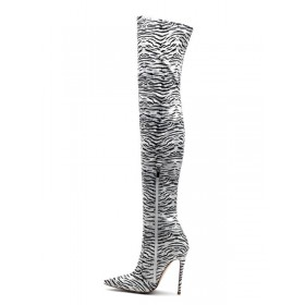 Thigh High Boots Womens Polyster Zebra Print Pointed Toe Stiletto Heel Over The Knee Boots outlet #10720885540