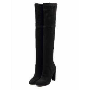 Thigh High Boots Womens Suede Lace Up Pointed Toe Chunky Heel Over The Knee Boots the best #10720707702