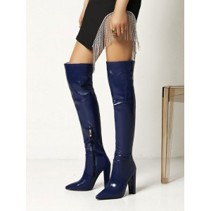 Women's Chunky Heel Over The Knee Boots good quality #10720965902