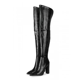 Womens Over The Knee Boots Black Pointed Toe PU Leather Chunky Heeled Boots quality #10720932814