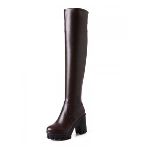 Womens Thigh High Boots Round Toe Chunky Heel Over The Knee Boots e fashion #10720808560