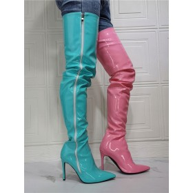 Women's Two Tone Thigh High Heel Boots in Patent Leather The Top Selling #10720963558