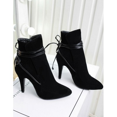 Ankle Black Suede Pointed Toe Strappy Short Booties business casual #10690619691