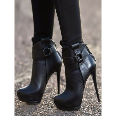 Black Ankle Boots Women Shoes Platform High Heel Booties high quality #10690746458