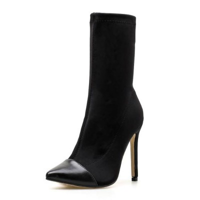 Black Sock Boots Women Pointed Toe High Heel Stretch Booties Ankle Boots The Most Popular #10690809020