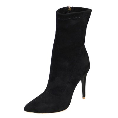 Black Stretched Boots Women Shoes Pointed Toe High Heel Booties Comfort #10690749530