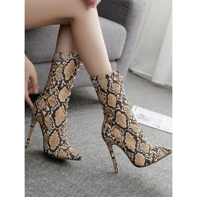 Brown Ankle Boots Women Pointed Toe Snake Pattern Lace Up High Heel Boots At Target #10690809014