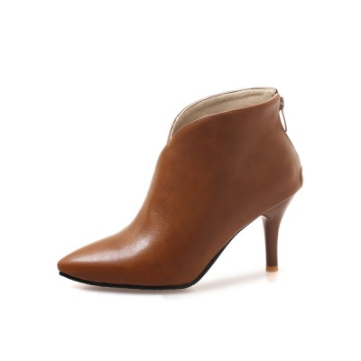 Brown Ankle Boots Women Winter Boots Pointed Toe High Heel Booties #10690796018