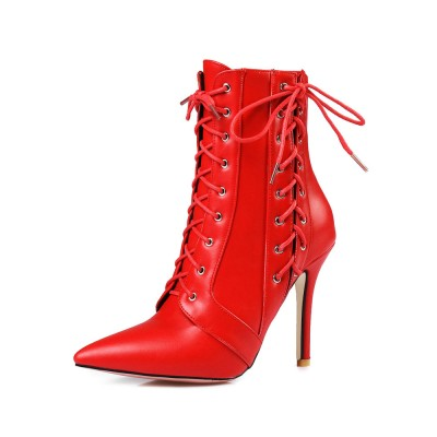 High Heel Booties Red Ankle Boots Pointed Toe Lace Up Booties For Women shop online #10690740068