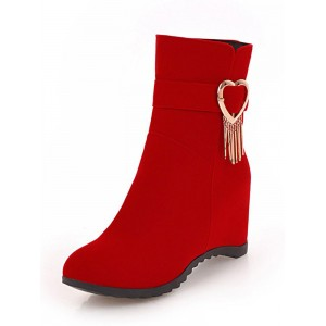 Red Wedge Boots Nubuck Round Toe Metal Detail Ankle Boots Women Winter Booties Deals #10690803656