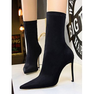 Suede Ankle Boots Black Pointed Toe High Heel Booties For Women Cut Off #10690820932